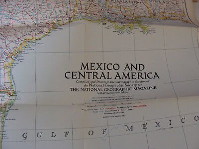 Vintage National Geographic Society  Map 1953 Mexico and Central America