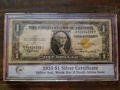 1935A $1 North Africa Silver Certificate Yellow Seal PCS sealed in acrylic disp