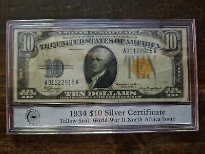 1934A Series $10 Yellow Seal, World War II North Africa Issue Silver Certificate