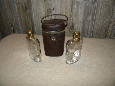 Vintage Double Glass Flask Set with Faux Leather Carrying Case
