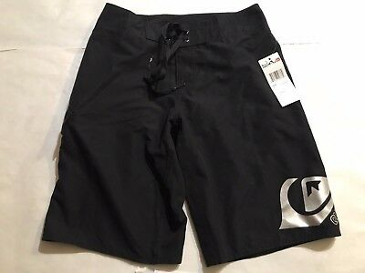 QUIKSILVER BOYS BOARD SHORTS  SOLID SWIM SHORTS BLACK size 7