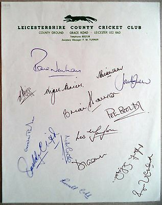 Leicestershire 1979 County Championship – Cricket Official Autograph Sheet