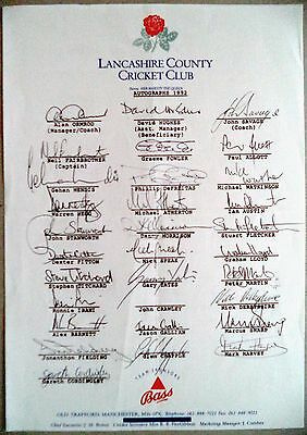 Lancashire 1992 County Championship – Cricket Official Autograph Sheet