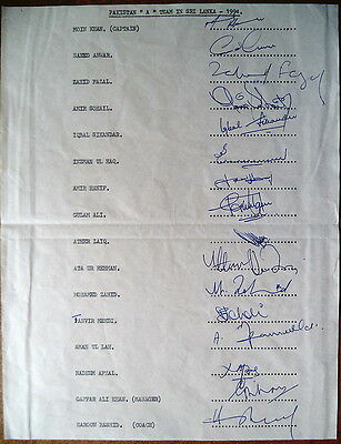Pakistan 'A' To Sri Lanka 1994 Cricket Autograph Sheet