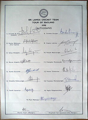Sri Lanka To England 1990 – Cricket Autograph Sheet