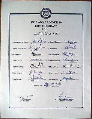 Sri Lanka Under 19 To England 1992 Autograph Sheet