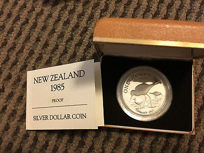 New Zealand 1985 Black Stilt Silver 1 Dollar Proof Coin with Box and COA