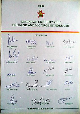 Zimbabwe To England 1990 – Cricket Official Autograph Sheet