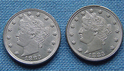*TWO BEAUTIFUL 1883 LIBERTY NICKELS w/OUT CENTS - ESTATE FRESH*