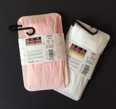 Beautiful Trimfit Microfiber Tights NWT  Size 4-6 Pink And White