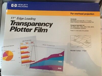 "HP 8.5"" x 11"" Edge Loading Transparency Plotter Film Over head projection"