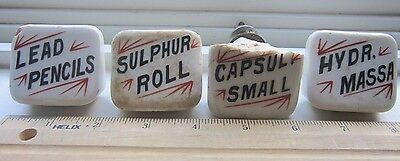 AS IS Set of 4 Porcelain Apothecary Cabinet Drawer Knobs Pharmacy Pulls Ceramic