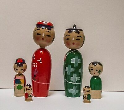 Set of 2 Japanese Wooden Kokeshi Nesting Dolls Bobblehead 6 PC.