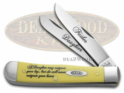 CASE XX Father & Daughter Yellow Delrin Trapper Stainless Pocket Knife Knives
