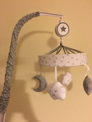 *Musical Crib Mobile Stars Moon Clouds Polka Dots Gray & White*