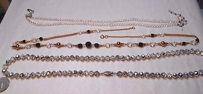 Vintage Lot Of 3 Ab Crystal Necklaces,1 Germany,1 Sterling Metallic