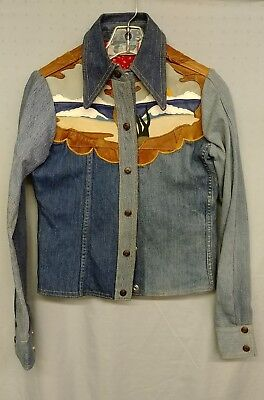 Vtg. 70's Antonio Guiseppe patchwork denim and leather set-USA made