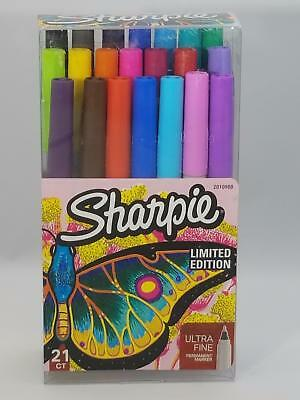Sharpie Permanent Marker 21 Ct. Limited Edition Ultra Fine Point Markers NEW