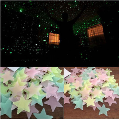 3D Star Glow In The Dark Kids Baby Bedroom Luminous Ceiling Wall Sticker 100pcs