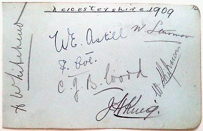 LEICESTERSHIRE 1909 CRICKET AUTOGRAPH SHEET inc: ASTILL, KING & WOOD