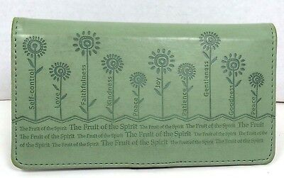 Christian Art Gifts Green Checkbook Wallet Floral The Fruit of The Spirit  D6