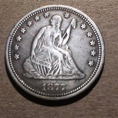 "1877 Seated Liberty Quarter - Love Token - Choice EF Extra Fine XF - ""C"" Reverse"