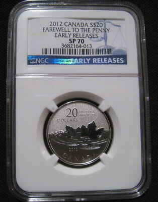 2012 CANADA $20 FAREWELL TO THE PENNY NGC SP70 ER 1/4 oz 9999 Silver Cent ~~