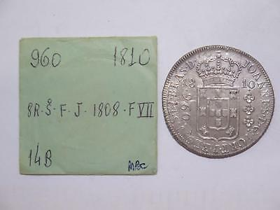 Brazil 1810 R 960 Reis Over/ 1808 Chile 8 Reales Ex:kurt Prober Coin Collection