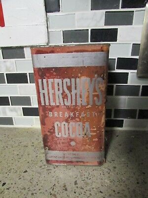 Hershey`s Breakfast Cocoa Metal Tin Can w/ Paper Label - one pound