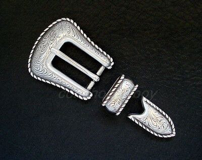 "Western Antique Silver Rope Edge Belt Buckle Set Fits 3/4"" Belt"