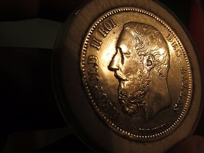 Exceptional Example Key Date 1873 Belgium 5 Francs Silver Crown King Leopold Iii