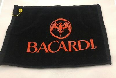 Bacardi Black 100% Cotton Bar Towel with Gold Hook 16 x 11 1/2