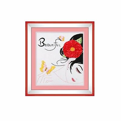 DIY Ribbon Embroidery Kit with Printed Pattern Beautiful Girl Sewing Craft 40*50
