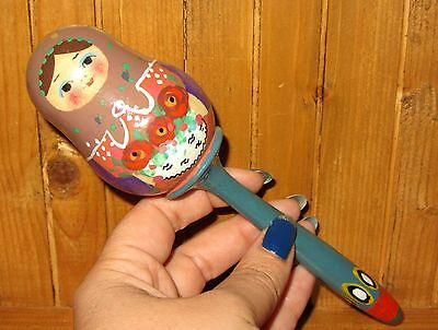 Traditional wooden Russian Doll Baby Rattle Unique hand painted signed Ryabova