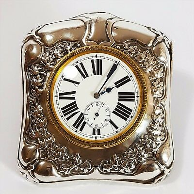 Truly Gorgeous Art Nouveau Silver Framed Easel Desk / Travel Clock 1900