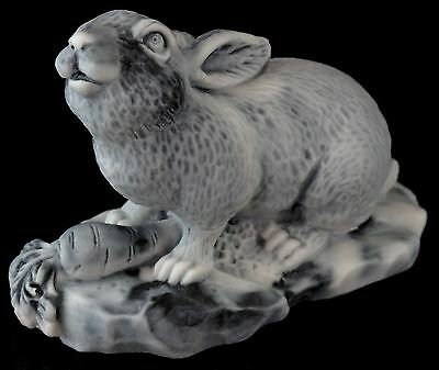 Bunny Rabbit with Carrot Marble Sculpture Russian Art Stone Animal Figurine