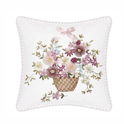 DIY Ribbon Embroidery Kit Flower Basket Cushion Cover Marked Pattern Gift 18""