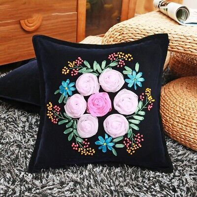 DIY Ribbon Embroidery Kit Pink Roses Cushion Cover Marked Pattern Black 18""