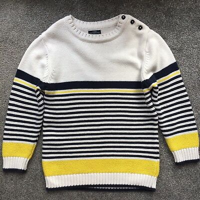 Next Boys Striped Chunky Knit Winter Jumper Top Age 4-5 Years Navy Yellow