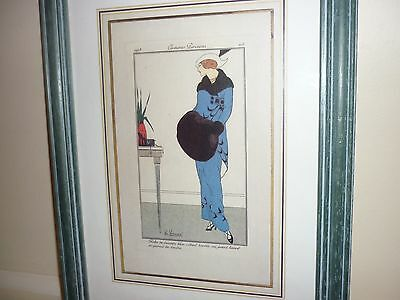 Antique French  Fashion Chrome Lithograph  H. Honore 1913  In Wood Frame!!