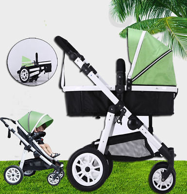 New 4 In 1 Baby Toddler Pram Stroller Jogger Aluminium With Bassinet Apple Green