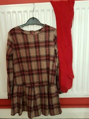 Girls Next Xmas Dress With Tights. Aged 4-5 Years. Very Good Condition