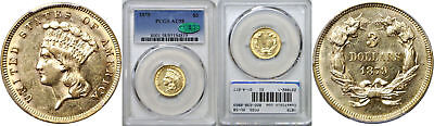 1879 $3 Gold Coin PCGS AU-58 CAC