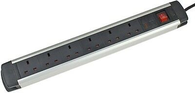 AS Schwabe 618376 6 Gang Aluminium Extension Lead Socket Strip With Surge -