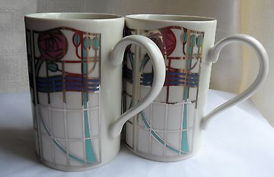 "Pair Of Dunoon Caroline Bessey Rennie Mackintosh Style Mugs - ""clyde"""