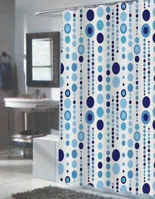 NEW Extra Long Shower Curtain Fabric Modern Bathroom Blue White Geometric Dots