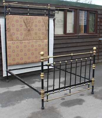 1920s Brass and Iron Half Tester Bed Frame with Upholstered Head Board