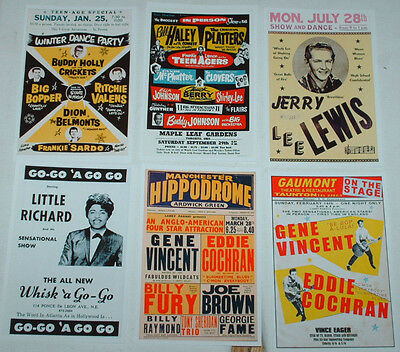Rock N Roll Rockabilly Concert Posters Job Lot Set 10 Colour 6 X 4 Glossy Cards