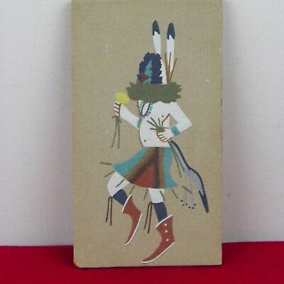 """Native American Indian Dancer Sand Art Painting 5"""" x 9"""" """"Signed Feathers"""