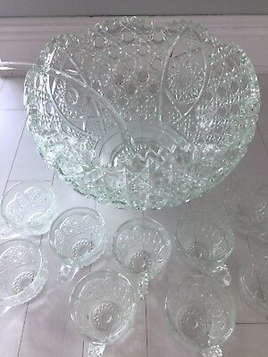L. E. Smith Daisy And Button Large Punch Bowl w/ Glass Ladle + 11 Cups MINT